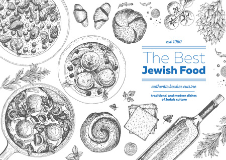 Jewish cuisine top view frame. Jewish food menu design. Kosher food. Vintage hand drawn sketch illustration. Linear graphic