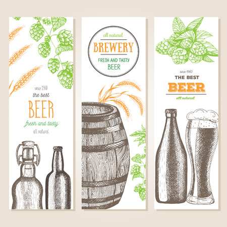 Banner set. Vector illustration in sketch style. Hand drawn beer vertical banners. Line drawing.