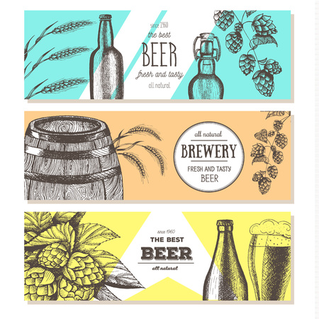 Banner set. Vector illustration in sketch style. Hand drawn beer horizontal banners. Line drawing.