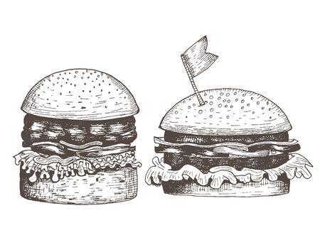 Set of two hamburgers. Sketch drawn ink.