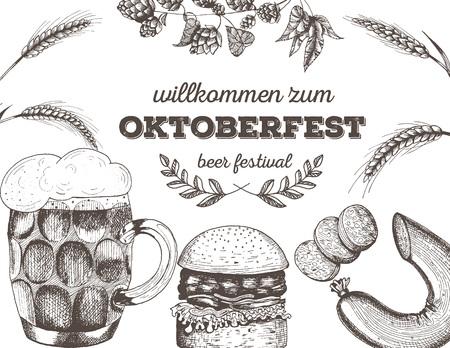 Vector illustration of beer. Raw material for brewing. Pub menu. Beer set. Snack sausages and hamburger Illustration