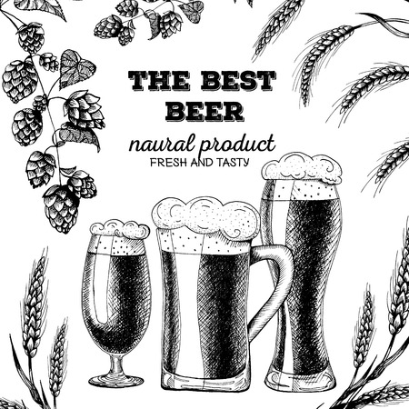 Vector template illustration of beer. Raw material for brewing: branch of hops and ears of barley. Card design. Иллюстрация