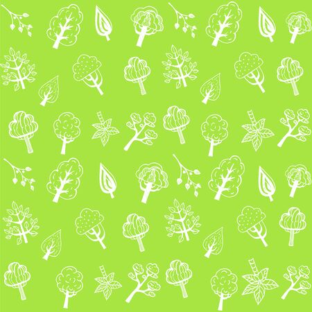 Seamless pattern with trees on a light green background.