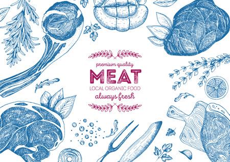 Vintage meat frame. Vector illustration. Linear graphic design. Hand drawn illustration. Meat design template.