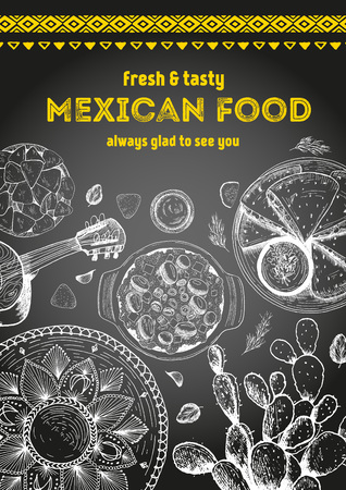 Mexican food frame. Mexican food vector illustration. Linear graphic style. Drawn on a chalkboard. Иллюстрация