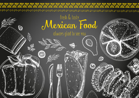 Mexican food frame. Mexican food vector illustration. Linear graphic style. Drawn on a chalkboard. Illustration