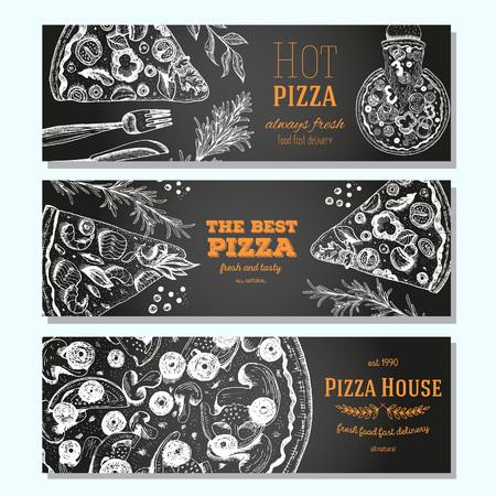 Pizza banner design template. Flyer design collection. Vector illustration drawn with ink. Vertical vintage banner set. Linear drawn vector illustration. Banner set. Иллюстрация