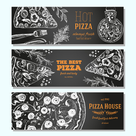 Pizza banner design template. Flyer design collection. Vector illustration drawn with ink. Vertical vintage banner set. Linear drawn vector illustration. Banner set. Illustration
