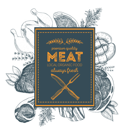 Design template for meat market. Menu label with meat meal. Hand-drawn vector illustration Иллюстрация