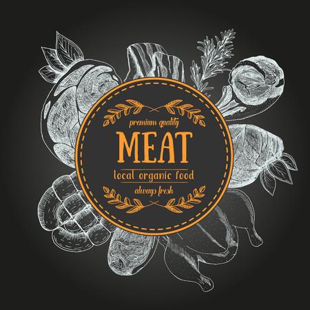 Design template for meat market. Menu label with meat meal. Hand-drawn vector illustration Illustration