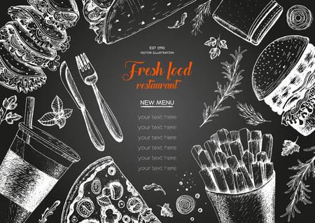 Fast food top view frame. Fast food banner, snack collection. Vintage vector illustration. Drawn in ink. Set of fast food, junk food.