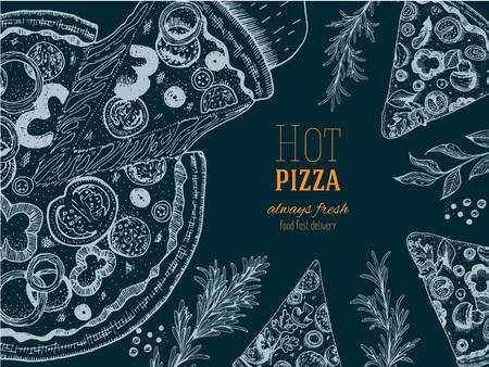Pizza design template. Vector illustration drawn in ink. Vintage design for pizzeria