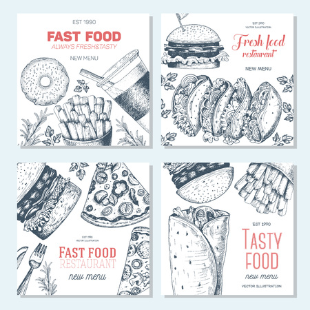 Fast food square banner set. Pizza, hamburger and french fries collection. Vector illustration, linear graphic drawn. Fast food menu design. Иллюстрация
