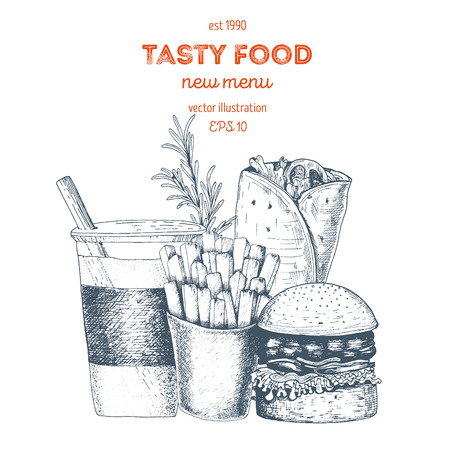 Lunch with french fries, burger, hot roll and beverage. Fast food, junk food. Linear graphic Vintage vector Illustration