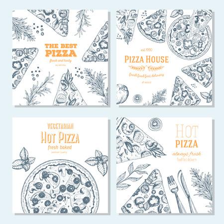 Pizza banner design template. Flyer design collection. Vector illustration drawn with ink. Horizontal vintage banner set.
