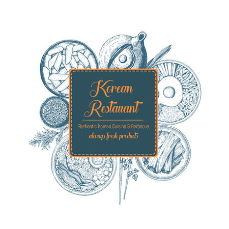 Vector asian food illustration. Korean food frame illustration. Menu label with ramen, bibimbap, kimchi and tteokbokki . Linear graphic.