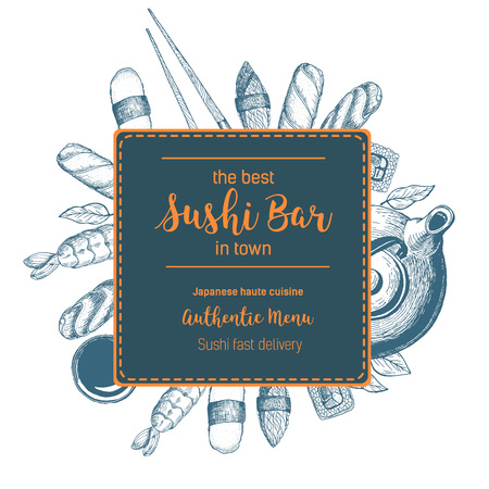 Vector sushi illustration. Asian food frame illustration. Menu label with sushi. rolls, chopsticks and soy sauce . Linear graphic.