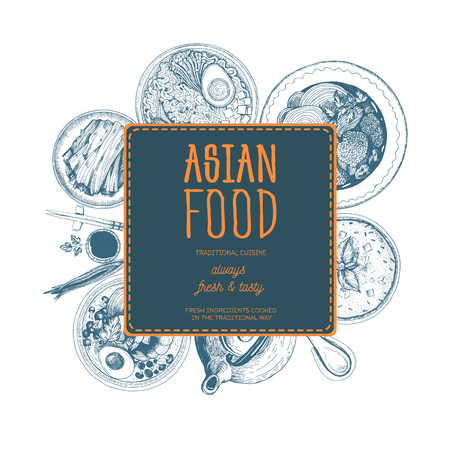 Vector asian food illustration. Asian food frame illustration. Menu label with ramen, bibimbap, kimchi and miso soup . Linear graphic.