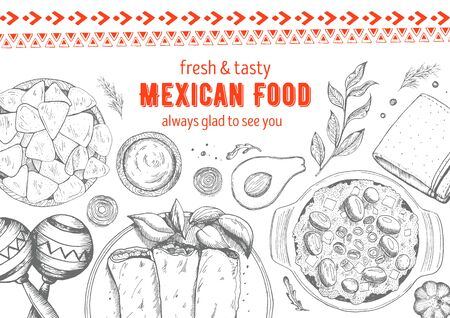 food: Mexican food frame. Mexican food vector illustration. Linear graphic style.