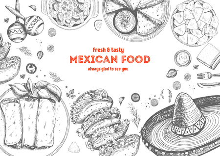 Mexican food frame. Mexican food vector illustration. Linear graphic style.