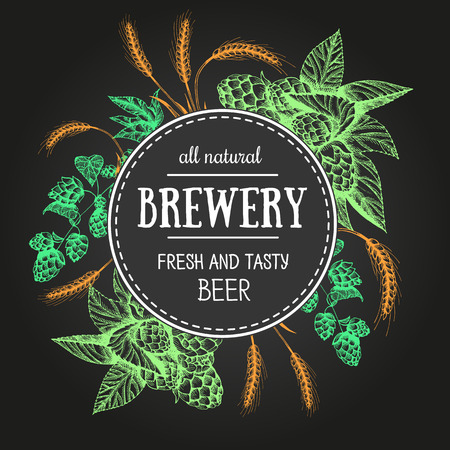 Design template for beer pub. Menu label with barley and hop. Circle concept. Hand-drawn vector illustration
