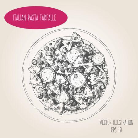 Farfalle pasta vector illustration. Italian cuisine. Linear graphic.