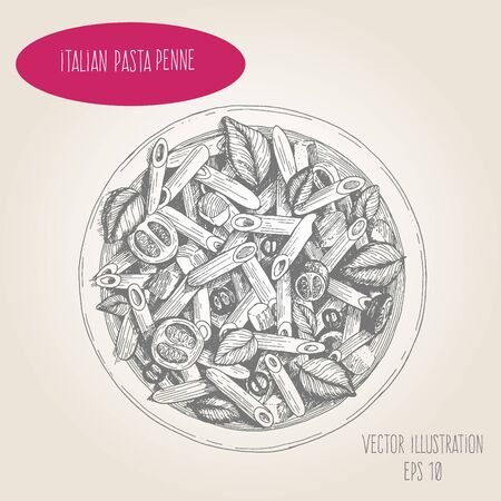 Penne pasta vector illustration. Italian cuisine. Linear graphic.
