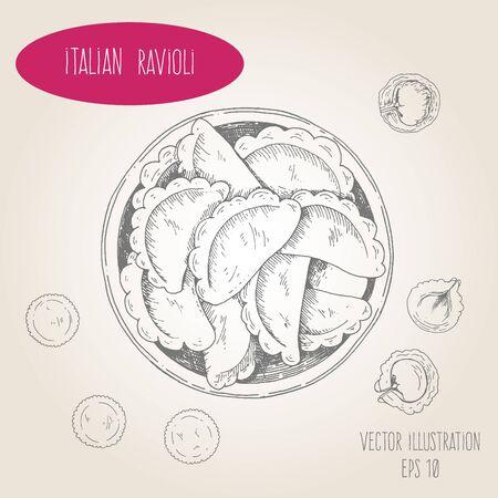 Ravioli vector illustration. Italian cuisine. Linear graphic. Иллюстрация