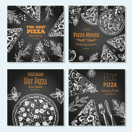 dark olive: Pizza banner design template. Flyer design collection. Vector illustration drawn with ink. Vertical vintage banner set. Linear drawn vector illustration. Banner set. Illustration