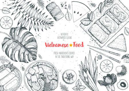 Vietnamese food top view frame. A set of vietnamese dishes with spring rolls, cao lau, fried spring rolls. Tropical food menu design template. Vintage sketch vector illustration. Engraved image. Vecteurs