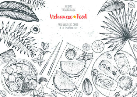 Vietnamese food top view frame. A set of vietnamese dishes . Food menu design template. Hand drawn sketch vector illustration. Engraved style. Vecteurs