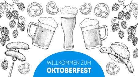 Oktoberfest menu design template. Beer glass and hops. German food sketch. Hand drawn vector illustration. German cuisine. Black and white. Engraved style. Hand drawn food, sketch illustration