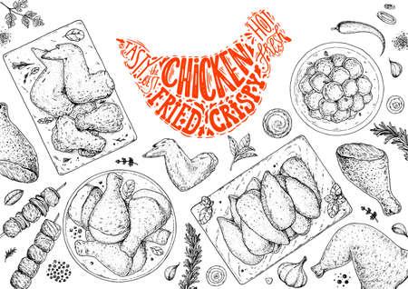Chicken meat. Grilled and Fried chicken. Hand drawn sketch illustration. Grilled chicken meat top view frame. Vector illustration. Engraved design. Restaurant menu design template