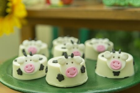 Kids Party Decoration - Farm Theme. Shaped candy personalized. Cake table detail. Handmade sweets with great care. Childhood and joy concept. Copy space Selective focus.