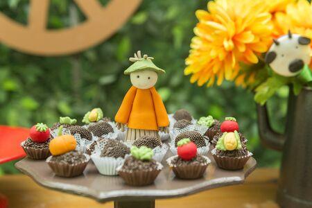 Bandeja con caramelos surtidos de diferentes sabores. Dulces personalizados y decorados para el campo o temática rural. Caramelos artesanales en forma de espantapájaros, maíz, tomate y zanahoria. Enfoque selectivo.