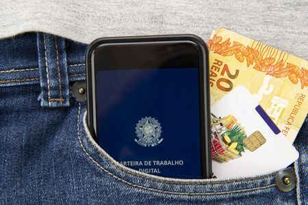 Top view of Brazilian passport over map. Focus on the European and African continent. Emigration, travel, destination concept. Translate: Mercosur, Federative Republic of Brazil, Passport.