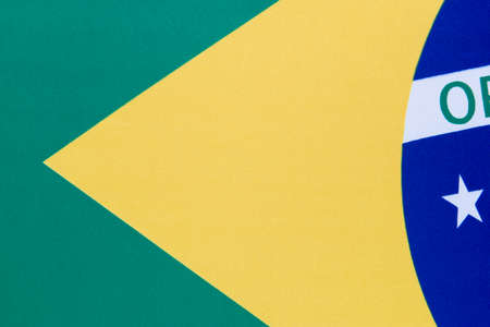 Cropped view of the Brazilian flag. Each star represents a Brazilian state. There are 26 stars on the flag. Imagens