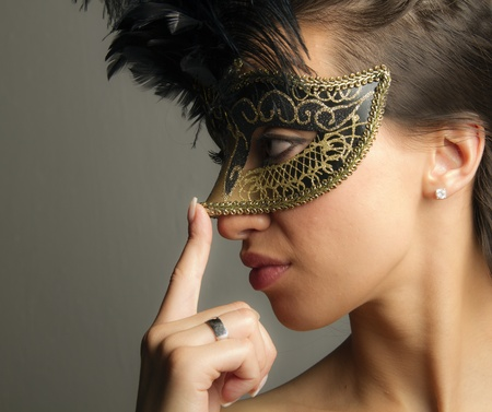 Woman wearing mask... photo