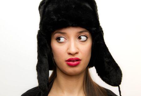 Woman wearing russian winter hat