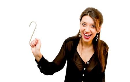 Woman holding hook Stock Photo