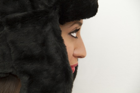 Woman with russian winter hat