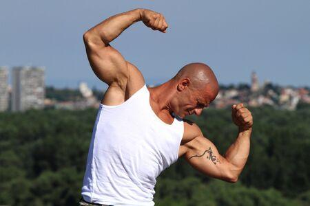 Fitness Instruktor posiert Beautiful background
