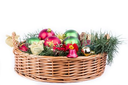 Christmas basket decorated and full of presents and decorations