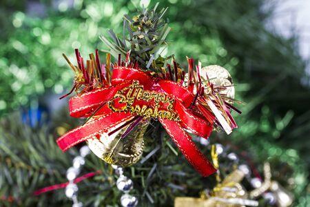 Frohe Weihnachten mit grünem Hintergrund Lizenzfreie Bilder