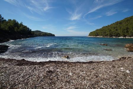 Poplat bay near the Vela Luka, Korcula island 版權商用圖片 - 92627612