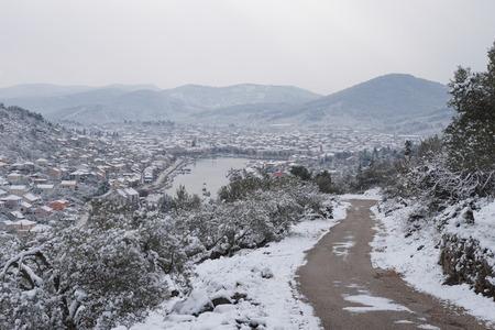 Snow in Vela Luka, Korcula Island