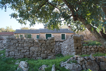 Old abandoned village Dub near Vela Luka and Blato on Korcula island Stock Photo