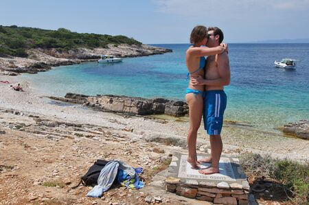 First kiss on the kissing spot, Proizd Islet - Vela Luka, Korcula Island Editorial