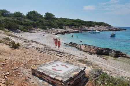 Kissing spot Mosaic on the Proizd islet near the Vela Luka, Korcula island
