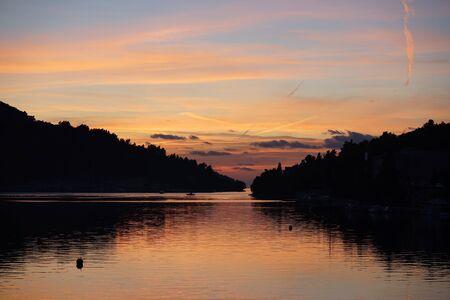 Vela Luka winter sunset, Korcula Island Stock Photo